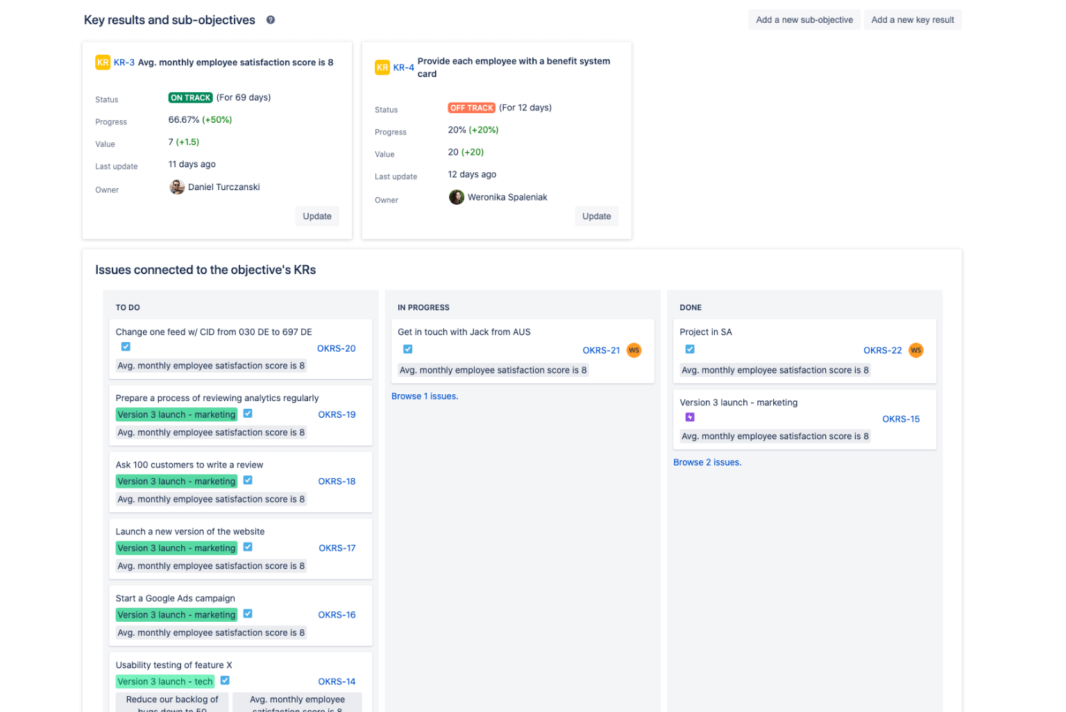 Connect key results to Jira issues