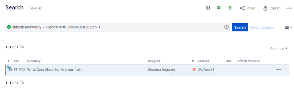 A screenshot that shows a Jira issue that has at least one linked issue that's of the highest priority.
